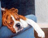 Custom Dog Portrait, Custom Pet Portrait Artist, Boxer dog,  7 x7 or 6 x 8 size in colored pencil pet, boxer art, custom artist