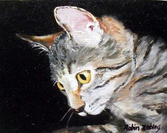 Realistic Cat Portrait Painting, Custom Pet Portrait