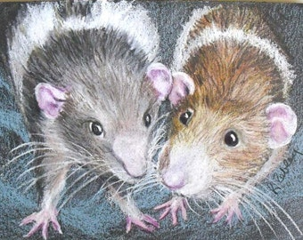 Pet Rat Portrait - or any type of pet, Custom portrait from your photos with mat