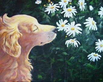 Oil Painting Pet Portrait, Golden Retriever, Garden Landscape Painting