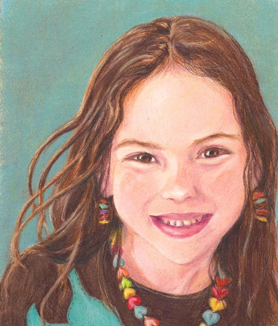 "Childrens Portrait Commission Custom 5"" x 7"" by Artist Robin Zebley - Detailed and Realistic Drawing in Colored Pencil"