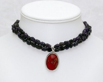 Amethyst and Millefiori Necklace