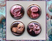 Pickled Punks, 5 button set, lowbrow monster freaks in jars