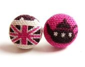 British tea union jack stud earrings pink
