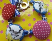 vintage grey cats charm bracelet with mouse and polka dots