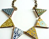 retro 60s and 70s print wooden bunting necklace