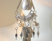 SALE AGATE WIRE WRAPPED SILVER EARRINGS