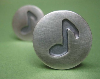 Music Note Cufflinks Sterling Silver