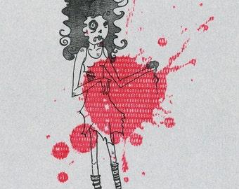 Zombie Girl Gocco Print