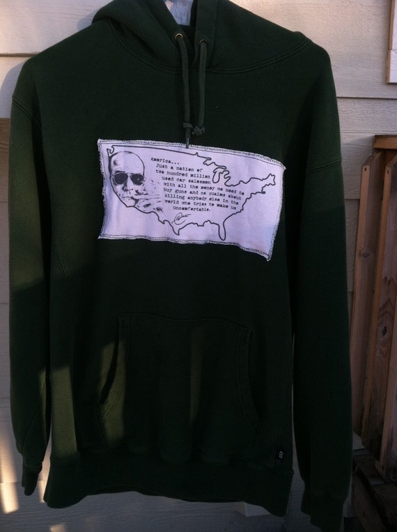 Dark Green Hunter S. Thompson Hoodie Size S-M Adult