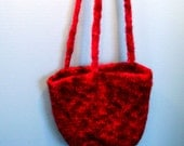 Red Felted Knit Bag with Long Straps