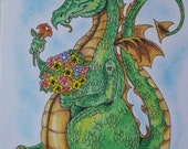 dragon with flowers- original 3x5