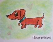 Weinie Love- ORIGINAL hand drawn small format art note