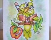 Writing Bird, ORIGINAL drawing, hand drawn, humor, small format art, blank note card, original illustration