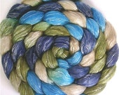 Handpainted Merino Wool/Tencel Roving in BLUE EYES 4 oz.
