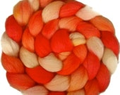 Handpainted BFL Wool Roving - 4 oz. SHADES of Tangerine - Spinning Fiber