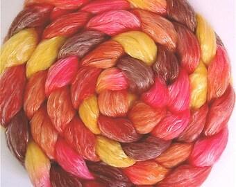 Handpainted Merino Tencel Wool Roving - 4 oz. TIGER LILY - Spinning Fiber