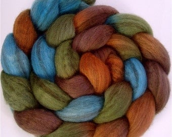 Handpainted Heathered BFL Wool Roving - 4 oz. COPPER HILLS - Spinning Fiber
