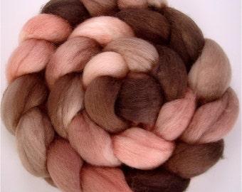ROSEWOOD Handpainted BFL Wool Roving 4 ounces