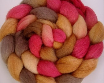 PERSIMMON Handpainted BFL Wool Roving 4 ounces