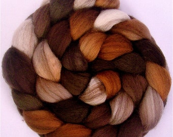 Heathered Handpainted BFL Roving in CAPPUCCINO 4 ounces