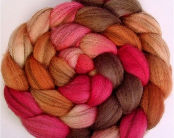 Handpainted Heathered BFL Roving - 4 oz. PERSIMMON - Spinning Fiber