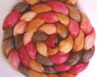 Handpainted Merino/Tencel Roving - 4 oz. PERSIMMON - Spinning Fiber