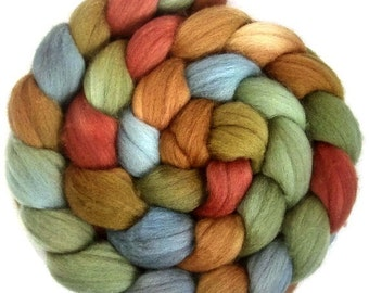 Handpainted Polwarth Wool Roving - 4 oz. EARTHEN HUES - Spinning Fiber