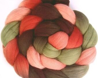Handpainted Superfine Merino Wool Roving  - 4 oz. PAPER ROSES - Spinning Fiber