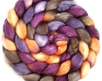 Handpainted Merino Tencel Wool Roving - 4 oz. CROCUS - Spinning Fiber