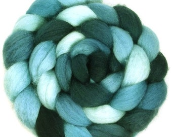 Handpainted BFL Wool Roving - 4 oz. SHADES of Turquoise - Spinning Fiber