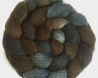 Handpainted Dark BFL Wool Roving - 4 oz. TRIBE - Spinning Fiber