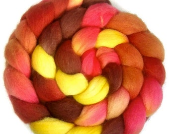 Handpainted Polwarth Wool Roving - 4 oz. TIGER LILY - Spinning Fiber