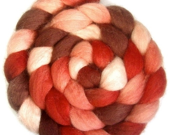 Handpainted BFL Wool Roving - 4 oz. SHADES of CRIMSON - Spinning Fiber