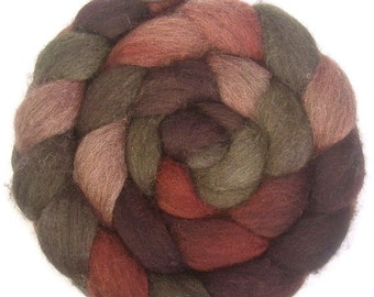 Handpainted Dark BFL Wool Roving - 4 oz. PAPER ROSES - Spinning Fiber