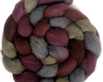 Handpainted Dark BFL Wool Roving - 4 oz. POTTERY - Spinning Fiber
