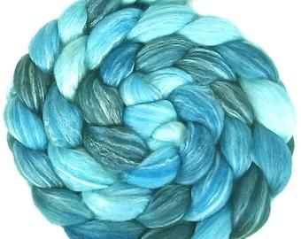 Handpainted Merino Bamboo Silk Roving - 4 oz. SHADES of Turquoise - Spinning Fiber