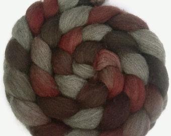 Handpainted Dark BFL Wool Roving - 4 oz. CHERRY COLA - Spinning Fiber