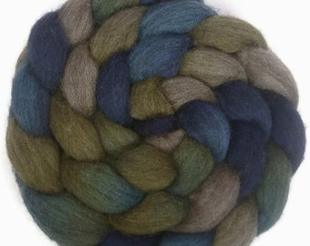 Handpainted Dark BFL Wool Roving - 4 oz. Blue Eyes - Spinning Fiber
