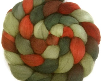 Handpainted Polwarth Wool Roving - 4 oz. HOLLY BERRY - Spinning Fiber