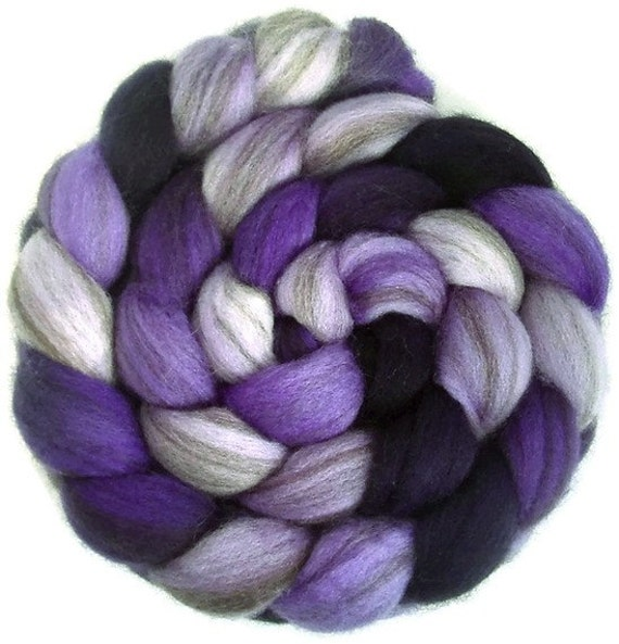 Handpainted Heathered BFL Roving  - 4 oz. SHADES of VIOLET - Spinning Fiber