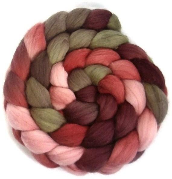 Handpainted Polwarth Wool Roving - 4 oz. PAPER ROSES - Spinning Fiber