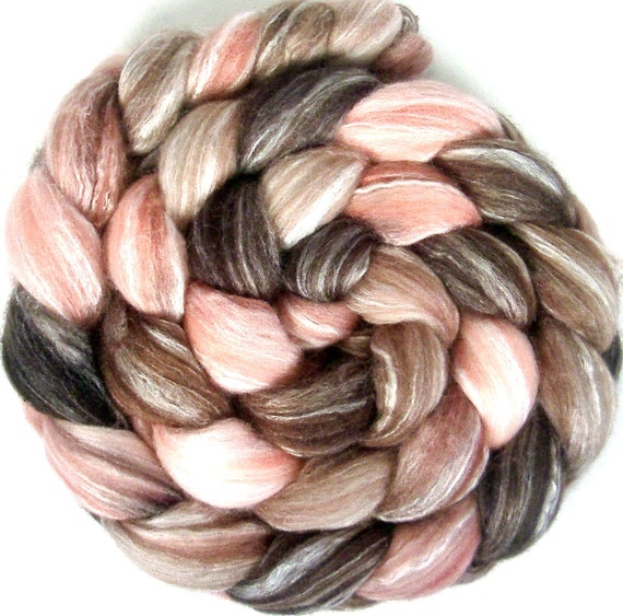 Handpainted Merino Bamboo Silk Roving - 4 oz. ROSEWOOD - Spinning Fiber