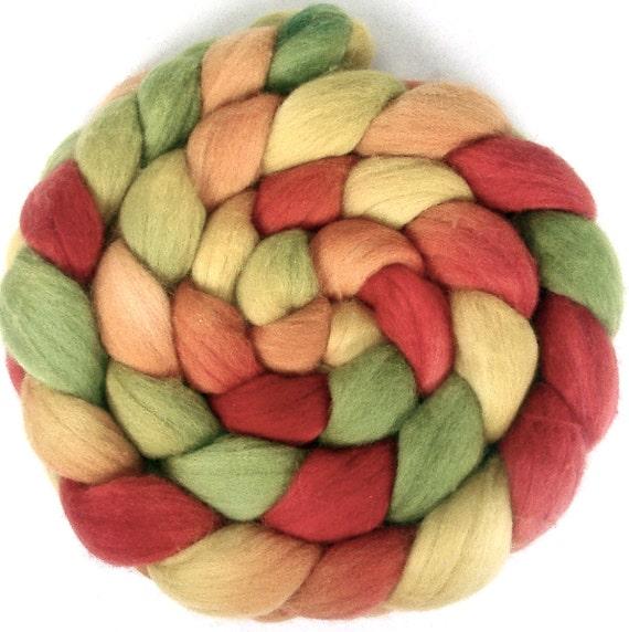 Handpainted Polwarth Wool Roving - 4 oz. FIELDS OF FLOWERS- Spinning Fiber