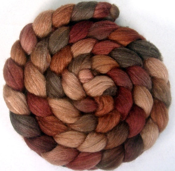 Handpainted BFL Tussah Silk Wool Roving - 4 oz. CINNAMON BUNS - Spinning Fiber