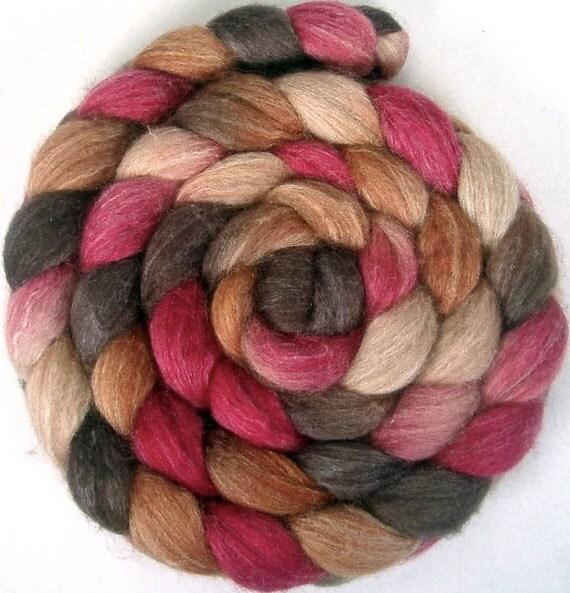 Handpainted BFL Tussah Silk Wool Roving - 4 oz. PERSIMMON - Spinning Fiber