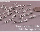 Bali Silver Twisted Tri-Rings, 6mm