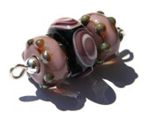 Lampwork Glass Beads Mini-Set, Handmade, Purple and Black w/ dots, Amy-Beads