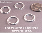 Hammered Sterling Silver Closed Rings, 15mm Jump Ring