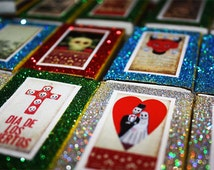 Day of the Dead Wedding Mexican Matchbox Party Favors Quinceanera Birthday Boxes